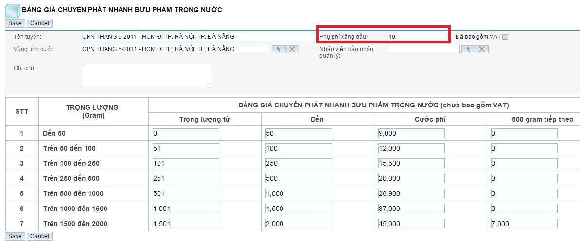 Bảng giá chuyển phát nhanh HCM đi HN, DN